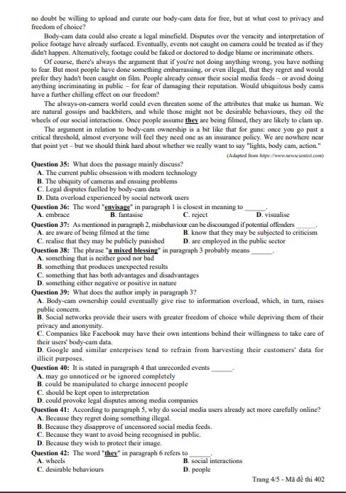 Chi tiết đáp án và đề thi môn tiếng Anh THPT quốc gia 2018 từ Bộ GDĐT