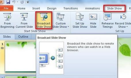 Khả năng phát các trang slide như một video